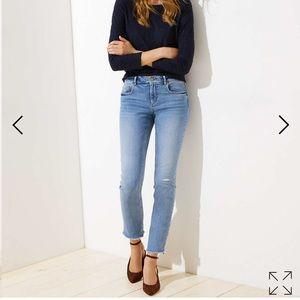 LOFT Deconstructed Straight Leg Jeans